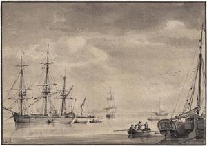 Zeilschepen op de rede van Gallion Beach bij Woolwich Warren bij Londen