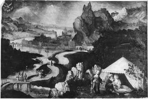 Landschap met Lots dochters die hun vader dronken maken; op de achtergrond de ondergang van Sodom en Gomorra  (Genesis 19:33-34)