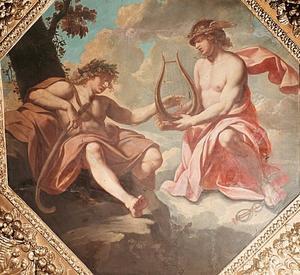 Mercurius schenkt zijn lier aan Apollo