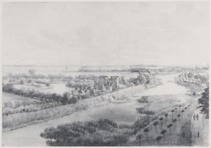 Vogelvlucht van Huis te Riviere (of Mathenesse) bij Schiedam