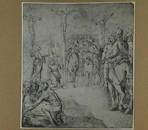 Golgotha: Christus sterft aan het kruis; soldaten verdobbelen zijn kleed