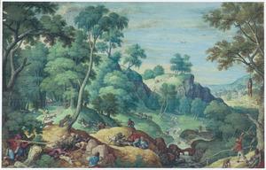 Weids landschap met berenjacht