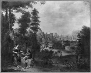 Zuidelijk landschap met eeen voorstelling van Christus en de Samaritaanse vrouw bij de bron