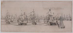 De vloot van admiraal Maarten Harpertszoon Tromp en van vice-admiraal Witte de With voor de zeeslag bij Ter Heijde, augustus 1653