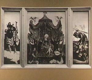 De H. Christoforus (links), Maria met kind en musicerende engelen (midden), de H. Joris (rechts)