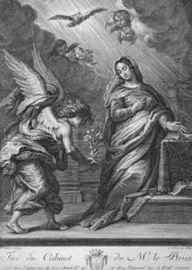 Annunciatie met buigende engel en staande Maria