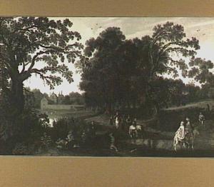 Boslandschap met het rijtuig van Margaretha van Mechelen (....-1662) voor Kasteel Abtspoel bij Oegstgeest