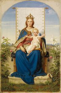 Tronende Madonna in een Hortus Conclusus