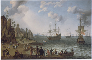 Kustgezicht met de aankomst van een vloot