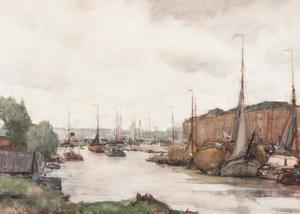 Aangemeerde boten aan de Haringkade in Scheveningen
