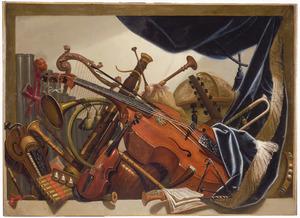 Stilleven met muziekinstrumenten in een nis