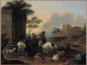 Zuidelijk landschap met herders rustend bij een ruïne