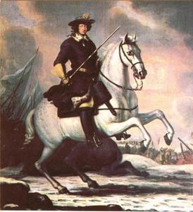 Koning Karel XI van Zweden te paard tijdens de slag bij Lund, 4 december 1676