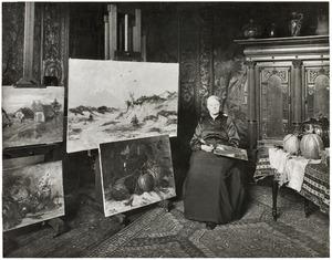 Portret van de schilderes Sientje Mesdag van Houten (1834-1909) in haar atelier op de Laan van Meerdervoort 9, Den Haag