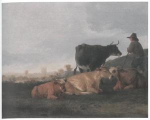 Landschap met herder en koeien