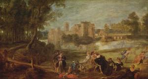 Parklandschap met minnekozend gezelschap; in de verte een door water omgeven kasteel