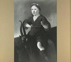 Pastoraal portret van een jongen op een bok