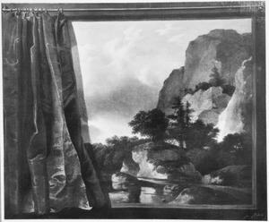 Berglandschap met trompe l'oeil geschilderd gordijn