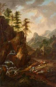 Berglandschap met reizigers bij een bruggetje over een waterval