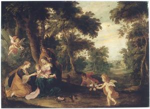 Boslandschap met het mystieke huwelijk van de H. Catharina van Siena