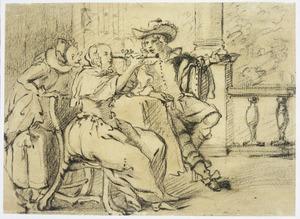 Vrouw met telescoop, man en oude vrouw op een terras