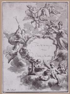Cartouche met portretmedaillon en allegorische figuren