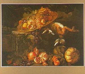 Vruchtenstilleven met een haas en een zangvogels
