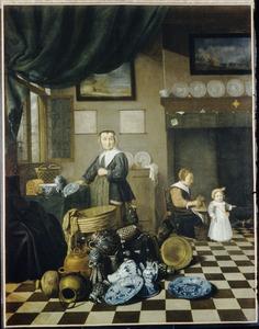 Interieur met een oudere vrouw, een jonge vrouw met een kind