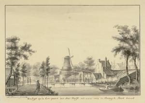 Koepoort en molen Zeldenrust bij de Nieuwe Langendijk te Delft