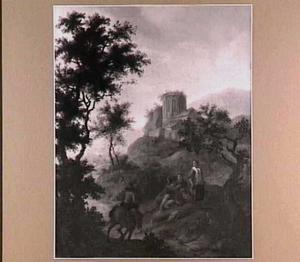 Landschap met herders en ruïne