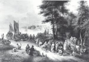 Vismarkt op een oever