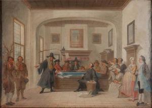 Episode uit Beslikte Swaantje en droge Fobert of de boerenrechtbank van Abraham Alewijn 1715 (Tweede akte, scène 3)