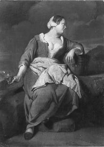 Een jonge vrouw met een glas, rustend in een landschap