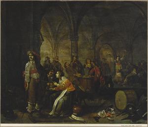 Drinkende en kaartende soldaten en vrouwen in een gewelfd wachtlokaal
