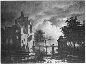 Gezicht op een kasteel bij maanlicht