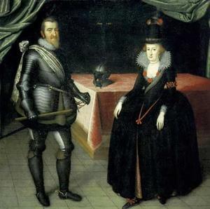 Portret van koning Christiaan IV (1577-1648) en koningin Anna Katherina van Brandenburg (1575-1612)