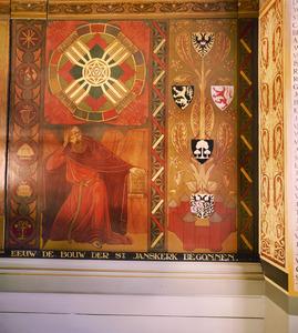 Symbolen van de tijdperken der wereldgeschiedenis / Johannes op Patmos / de wapens van Brabant en 's-Hertogenbosch