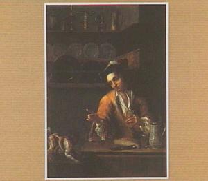 Interieur met etende jonge man die zijn vinger opheft naar een hondje