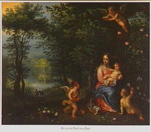 De Madonna en het kind door engelen gevoed tijdens de rust op de vlucht naar Egypte