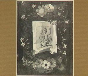 Bloemenkrans rond een voorstelling van Christus als Salvator Mundi
