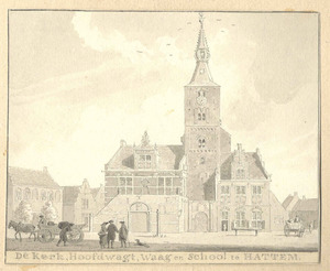 Hattem, gezicht op de markt met de kerk