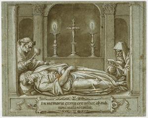 Twee monniken wakend bij een opgebaarde dode vrouw (of man)