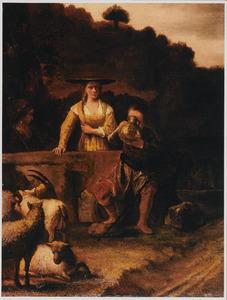 Rebekka geeft Eliëzer aan de bron uit haar kruik te drinken (Genesis 24:17-18)