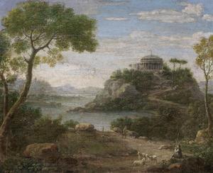 Zuidelijk rivierlandschap met een tempel op een heuvel