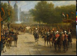 Het Fredericksplein te Amsterdam tijdens de intocht van Koningin Wilhelmina, 5 september 1898
