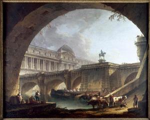 Architecturale capriccio met gebouwen geïnspireerd op het Louvre en de Pont Neuf