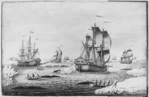 Zeegezicht met walvisvaarders