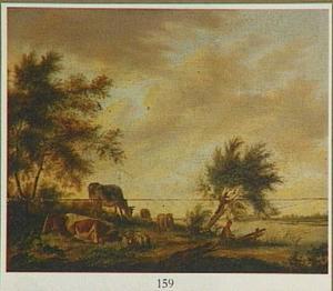 Rivierlandschap met vee op de linkeroever
