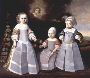 Portret van Frederika, Edzard Jacob en Lambert Tjarda van Starkenborgh