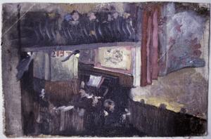 Interieur van een theater met orkestbak en toneel